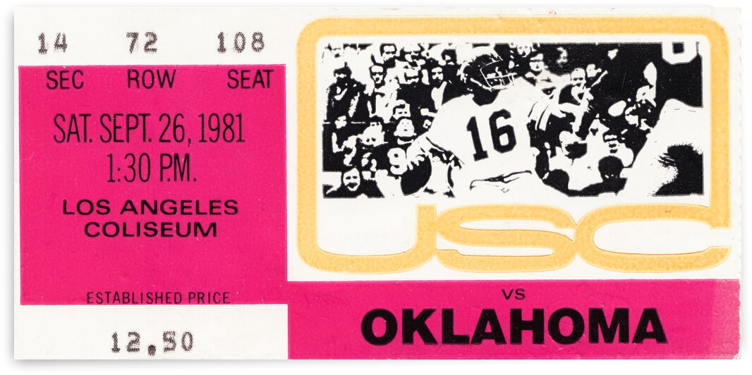 1981 USC Trojans vs. Oklahoma Sooners Football Ticket Canvas by Row One Brand