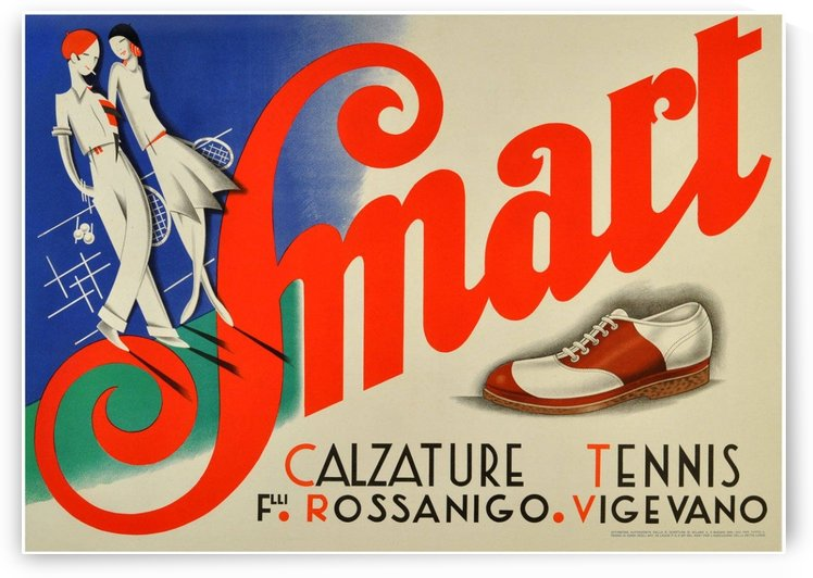 Original Vintage Art Deco Advertising Poster for Smart Calzature Tennis Shoes by VINTAGE POSTER