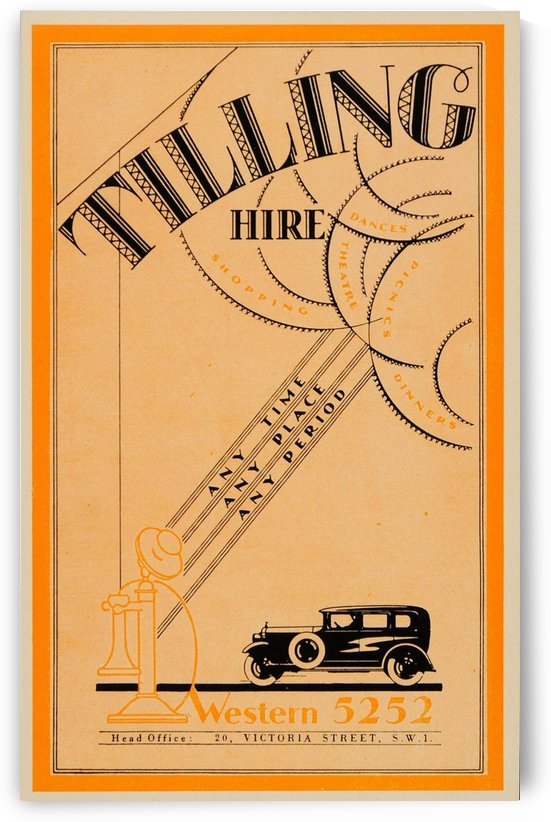 1933 Tilling Hire Vintage Car Art Deco Font Mini Poster by VINTAGE POSTER