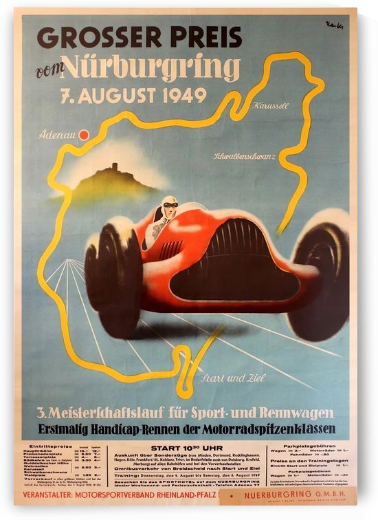 Original Vintage Sports Car Racing Poster for the 1949 Nurburgring Grand Prix by VINTAGE POSTER
