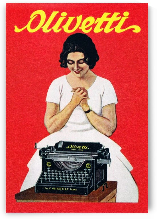 Olivetti writing machine poster by VINTAGE POSTER
