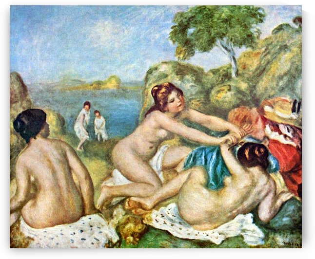 Three bathing girls with crab by Renoir by Renoir