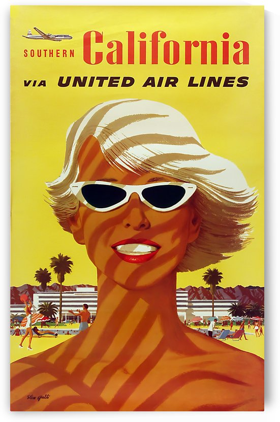 United Airlines Southern California by VINTAGE POSTER