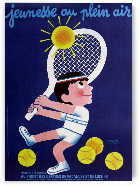 French vintage european poster, Jeunesse au Plein Air Tennis by VINTAGE POSTER
