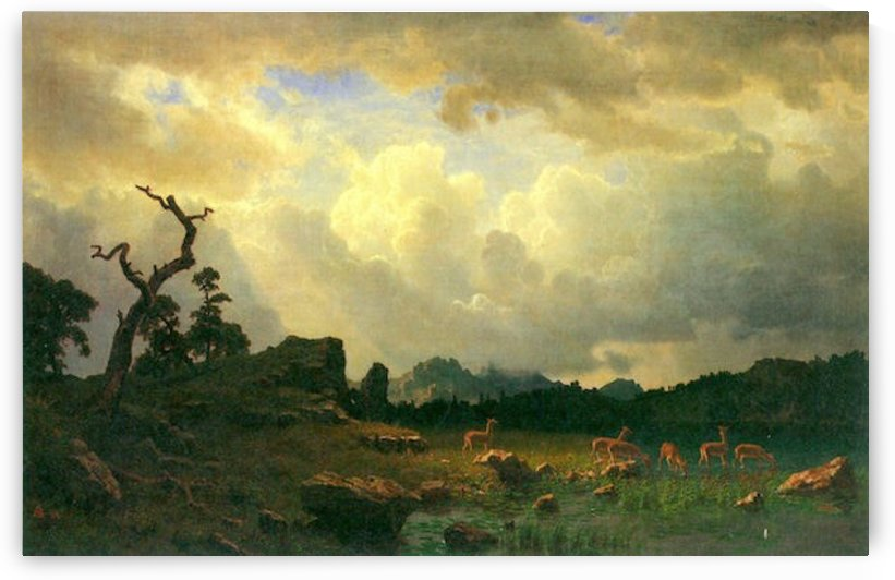 Thunderstorms in the Rocky Mountains by Bierstadt by Bierstadt