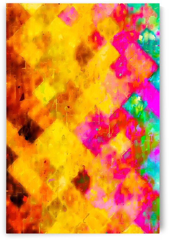 geometric pixel pattern painting abstract in brown yellow pink green by TimmyLA