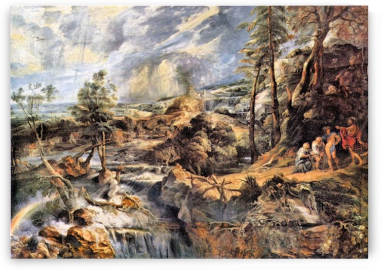 Thunderstorms landscape with Philemon and Baucis by Rubens by Rubens