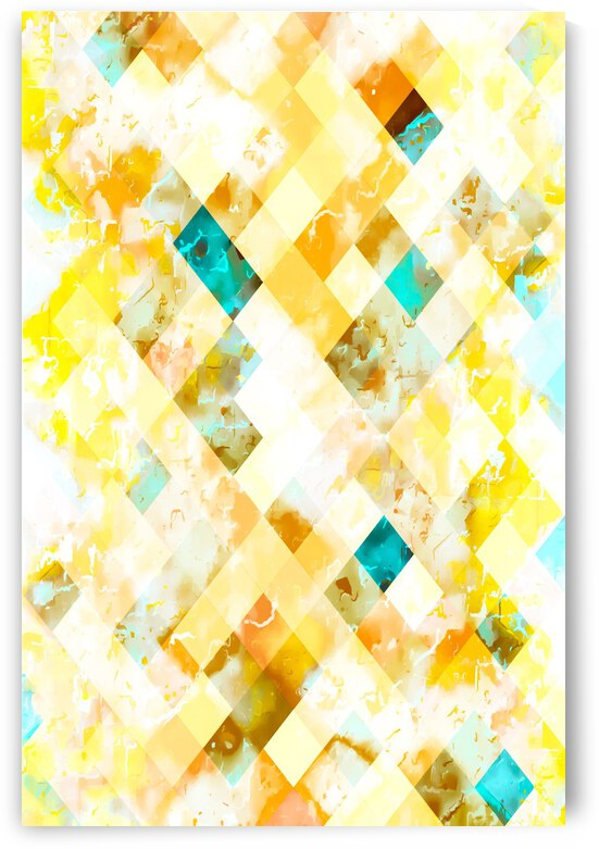 geometric pixel square pattern abstract in yellow brown blue by TimmyLA