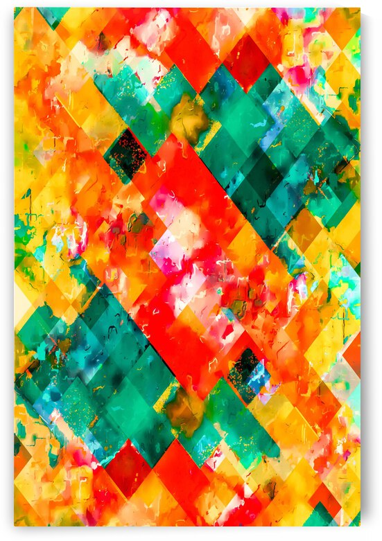 geometric pixel square pattern abstract in orange green red by TimmyLA