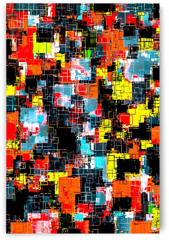 geometric pixel square pattern abstract in red blue yellow by TimmyLA