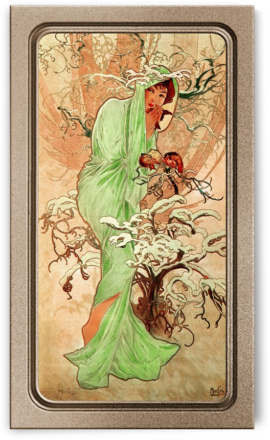 Winter In A Green Cape by Alphonse Mucha Vintage Old Masters Art Nouveau Reproduction by xzendor7