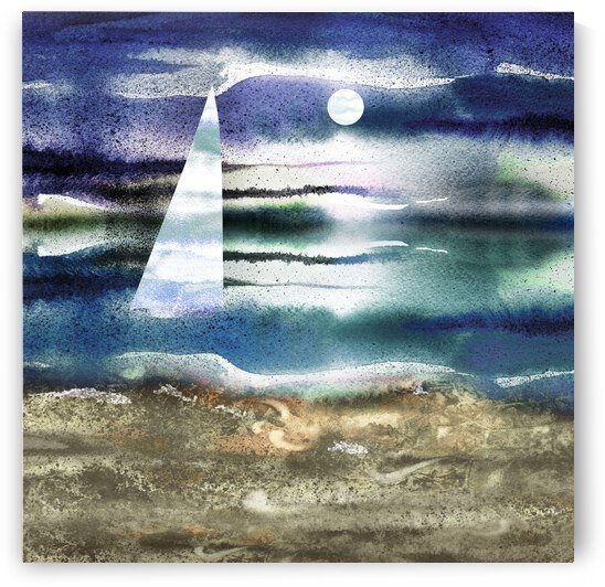 Beach House Art Sailboat At The Ocean Shore Seascape Painting I by Irina Sztukowski