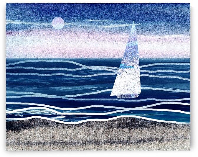 Beach House Art Sailboat At The Ocean Shore Seascape Painting III by Irina Sztukowski