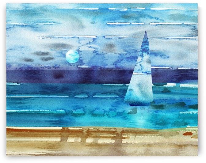 Beach House Art Sailboat At The Ocean Shore Seascape Painting V by Irina Sztukowski