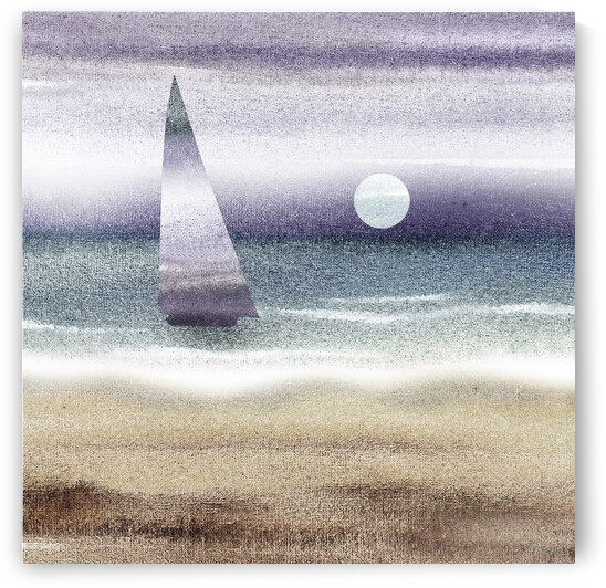 Beach House Art Sailboat At The Ocean Shore Seascape Painting VII by Irina Sztukowski