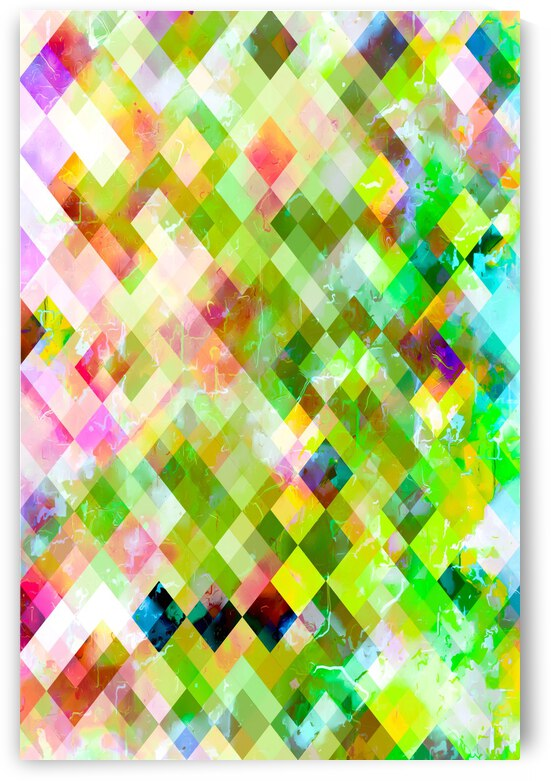 geometric square pixel pattern abstract background in green pink yellow blue by TimmyLA