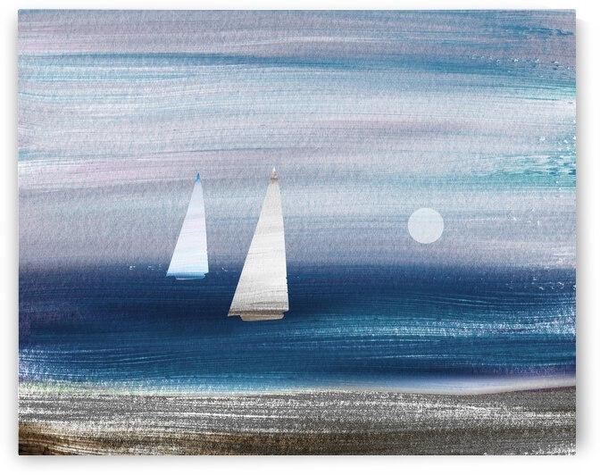 Beach House Art Sailboats At The Ocean Shore Seascape Painting IX by Irina Sztukowski