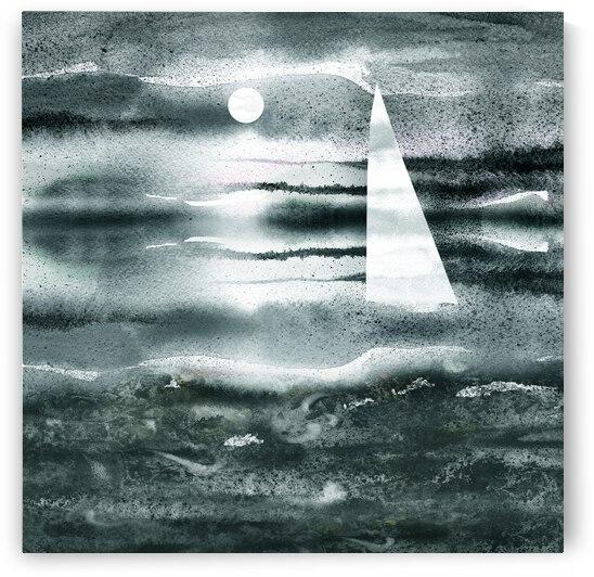 Beach House Art Sailboat At The Ocean Shore Seascape Painting XI by Irina Sztukowski