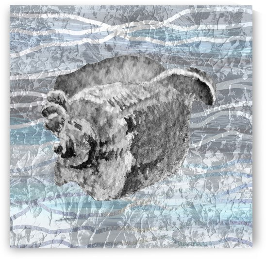 Silver Gray Seashell On Ocean Shore Waves And Rocks I by Irina Sztukowski