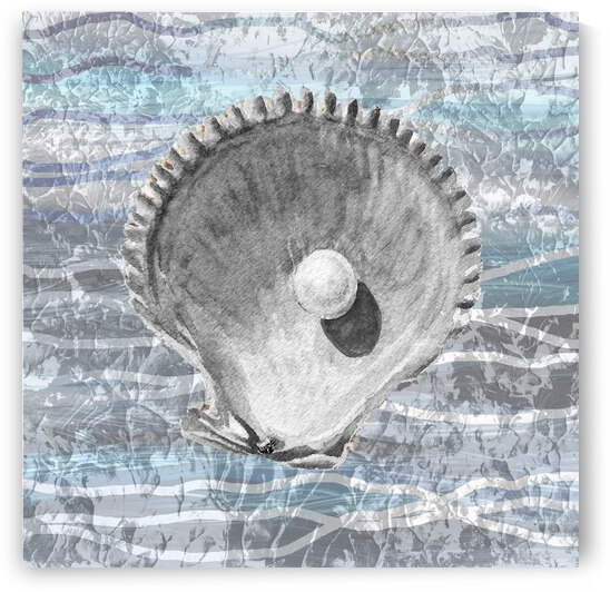 Silver Gray Seashell On Ocean Shore Waves And Rocks IV by Irina Sztukowski