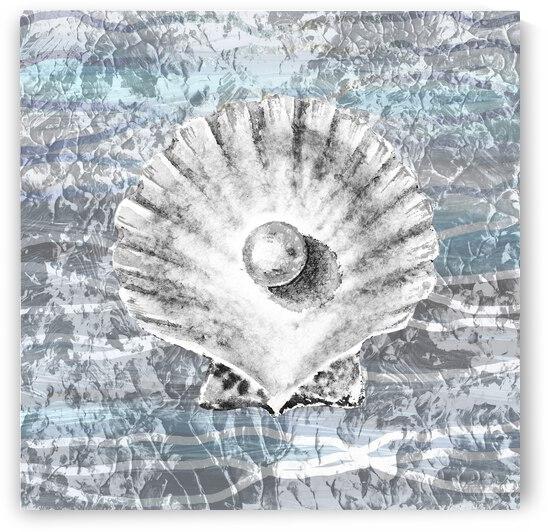 Silver Gray Seashell On Ocean Shore Waves And Rocks V by Irina Sztukowski