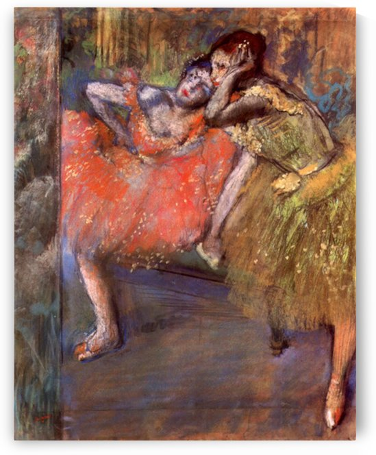 Two dancers behind the scenes by Degas by Degas