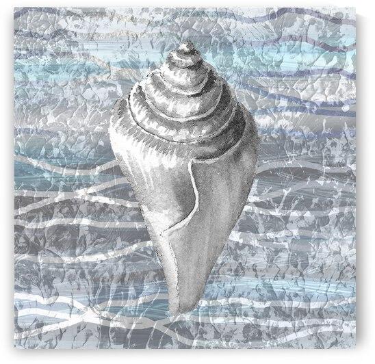 Silver Gray Seashell On Ocean Shore Waves And Rocks VII by Irina Sztukowski