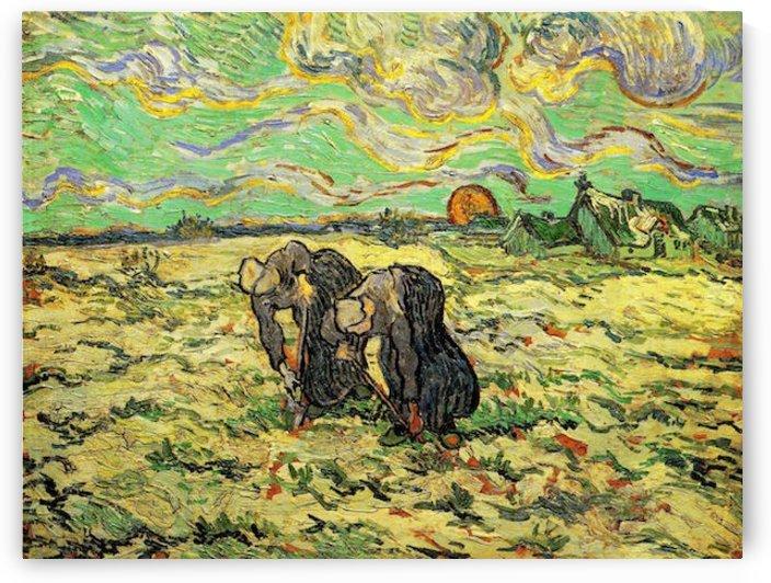 Two Peasant Women Digging in Field with Snow by Van Gogh by Van Gogh