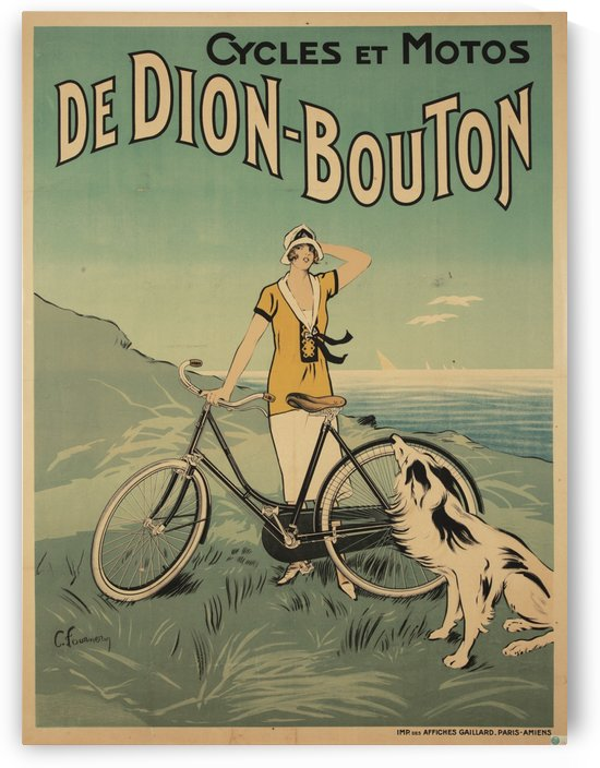 Cycles et Motos de Dion-Bouton, by Felix Fournery by VINTAGE POSTER