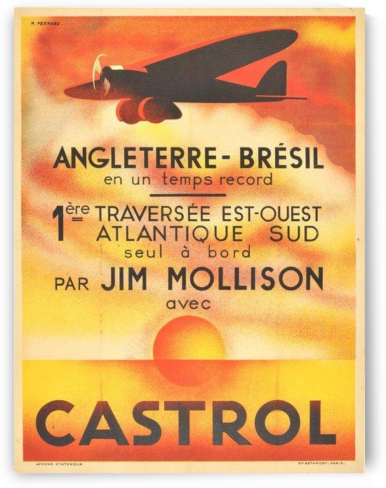 Original Art Deco Airplane Poster Castrol Jim Mollison Art Deco England Brazil by VINTAGE POSTER
