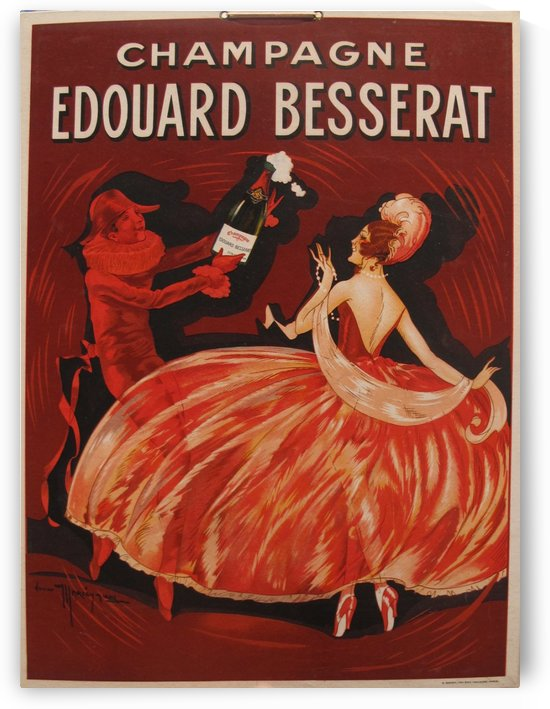 1920 French Vintage Advertising Sign, Champagne Advertising Carton, Red Alcohol Sign by VINTAGE POSTER
