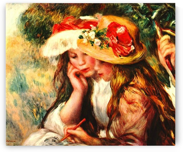 Two reading girls in a garden by