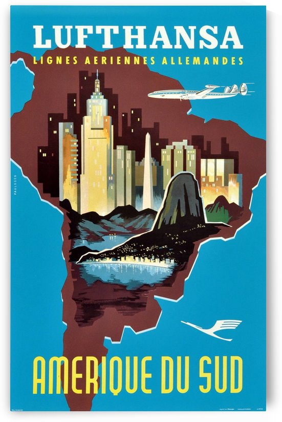 Original Vintage Travel Poster Advertising South America By Lufthansa by VINTAGE POSTER