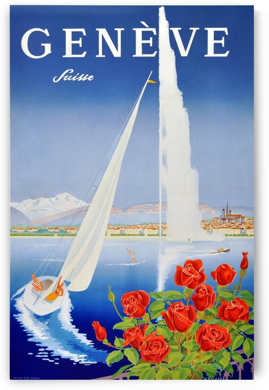 Original Vintage Poster For Geneva Switzerland by VINTAGE POSTER