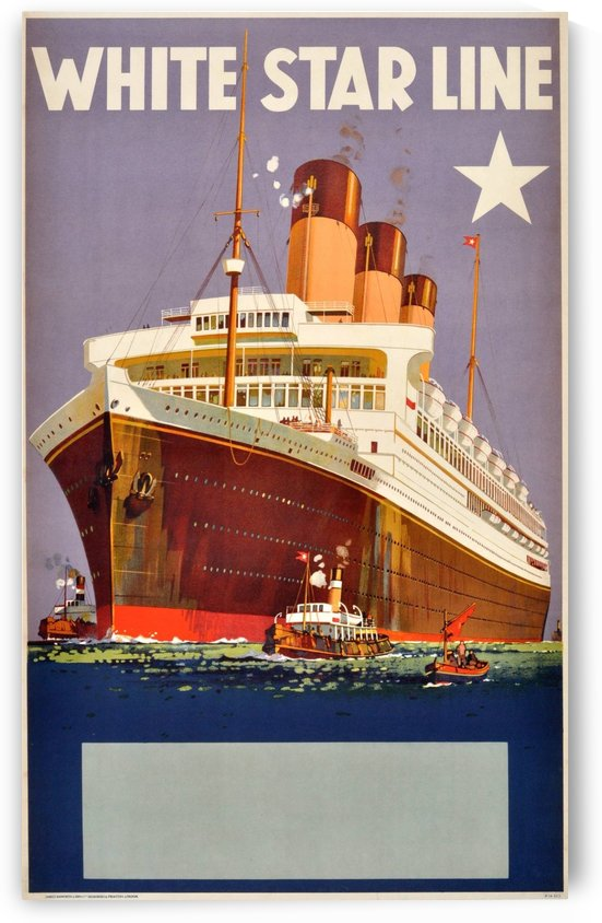 Original Vintage 1920 Travel Advertising Poster For White Star Line Cruises by VINTAGE POSTER