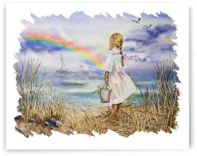Girl Ocean Rainbow Boat And Birds Beach House Style Art by Irina Sztukowski