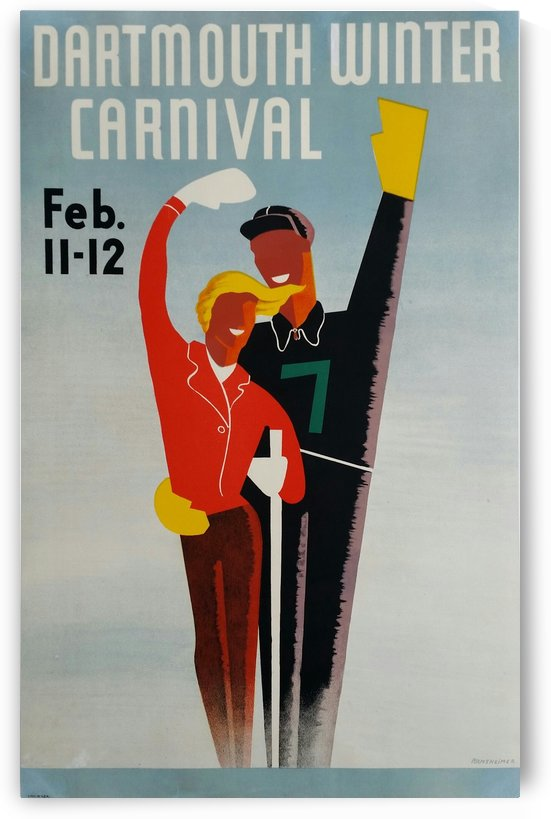 Original vintage poster ski Dartmouth Winter Carnival February by VINTAGE POSTER