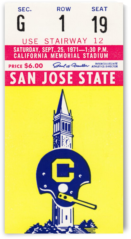 1971 California vs. San Jose State Football Ticket Canvas by Row One Brand