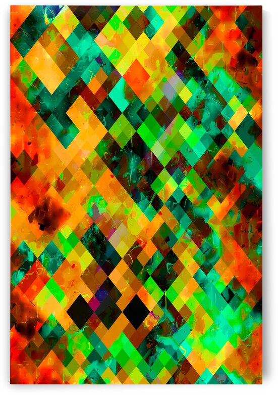 geometric square pixel pattern abstract in green brown orange blue by TimmyLA