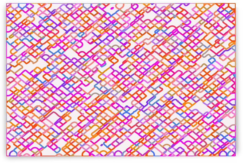 fractal geometric square pixel line pattern abstract in red pink blue by TimmyLA