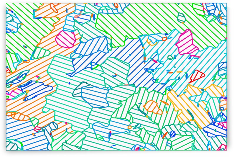 fractal geometric line abstract background in green blue pink by TimmyLA