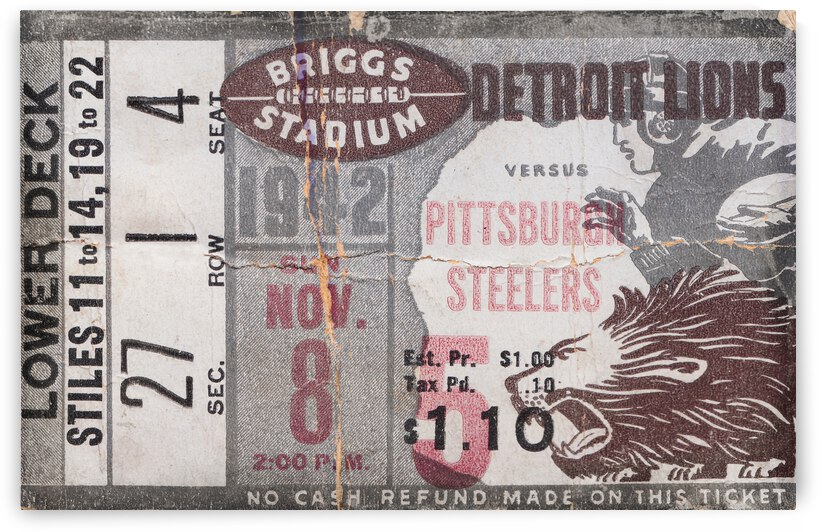 1942 Detroit Lions vs. Pittsburgh Steelers Ticket Stub Art by Row One Brand