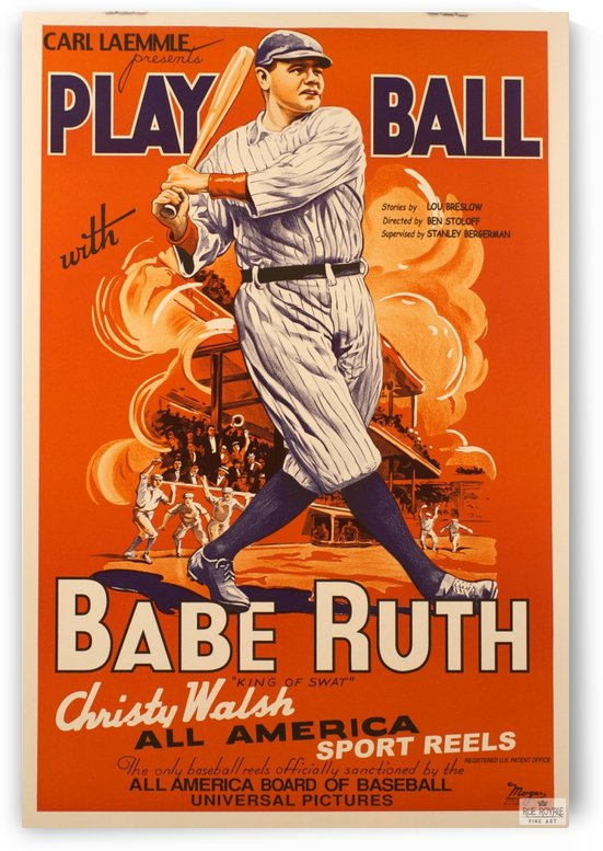 Babe Ruth Play Ball by VINTAGE POSTER