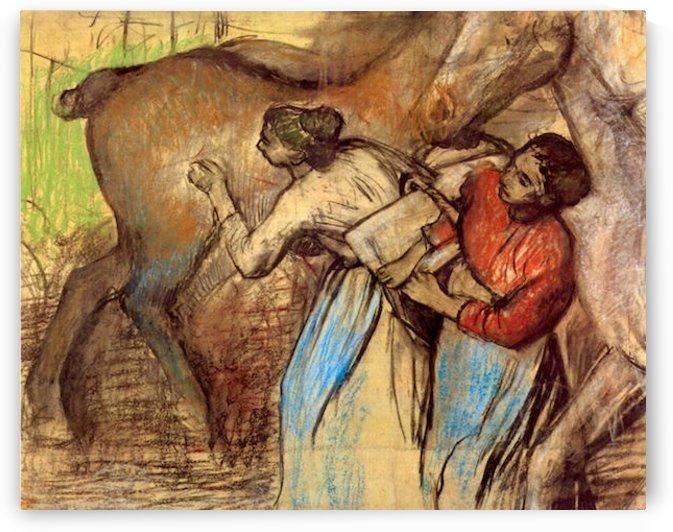Two women washing horses by Degas by Degas