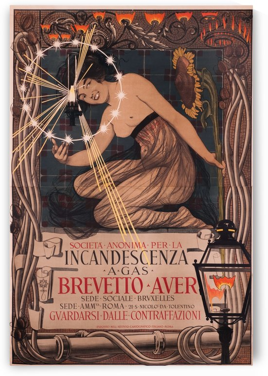 Brevetto Auer Incandescenza a Gas Original Poster by VINTAGE POSTER