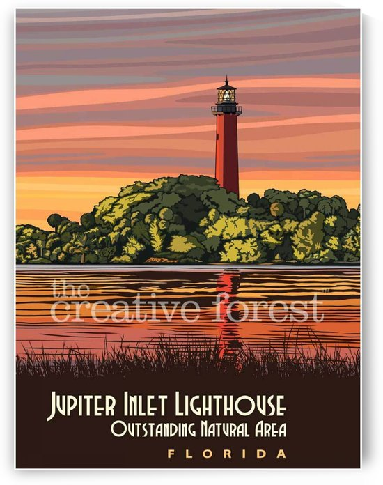 Jupiter Inlet Lighthouse, Vintage Florida Travel Reproduction by VINTAGE POSTER