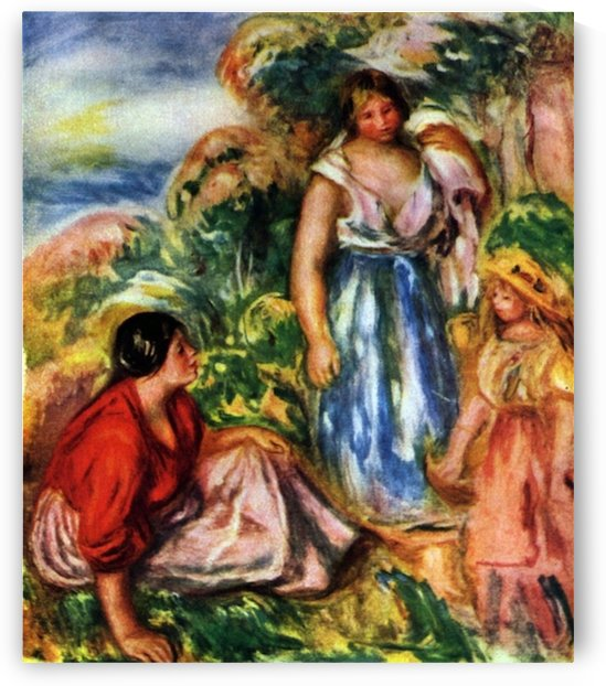 Two women with young girls in a landscape by Renoir by Renoir