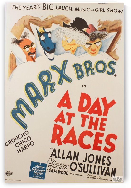 Marx Bros Brothers A Day at the Races Classic movie poster vintage movie poster by VINTAGE POSTER