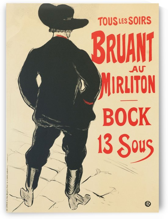 Bruant au Mirliton, Henri de Toulouse-Lautrec black boots by VINTAGE POSTER