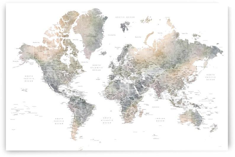Habiki detailed world map in muted watercolors by blursbyai